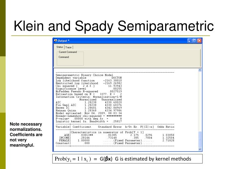 Klein and Spady Semiparametric
