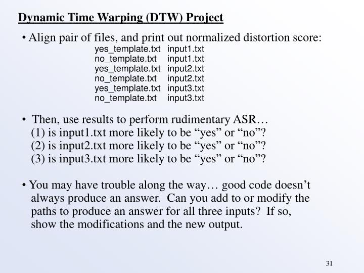 Dynamic Time Warping (DTW) Project