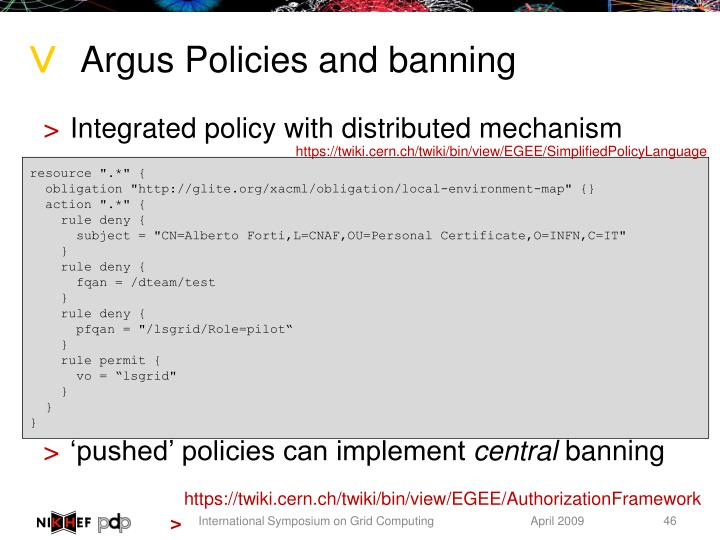 Argus Policies and banning