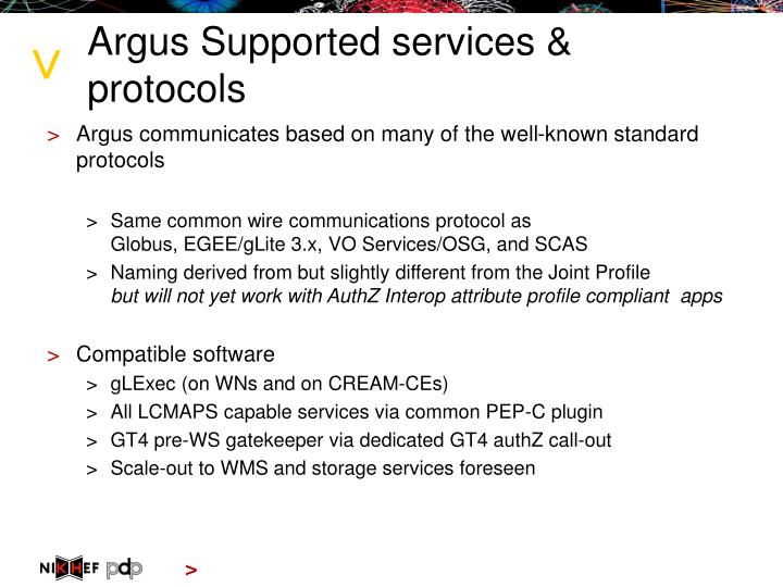 Argus Supported services & protocols