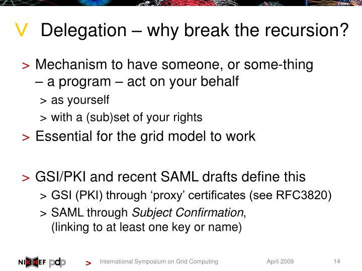 Delegation – why break the recursion?