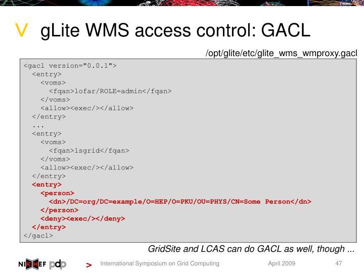 gLite WMS access control: GACL