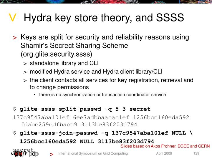 Hydra key store theory, and SSSS