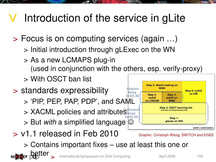 Introduction of the service in gLite