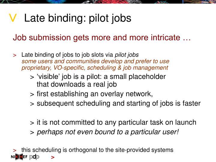 Late binding: pilot jobs