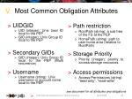 most common obligation attributes