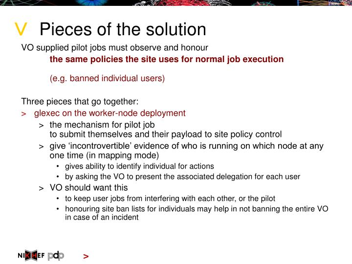 Pieces of the solution