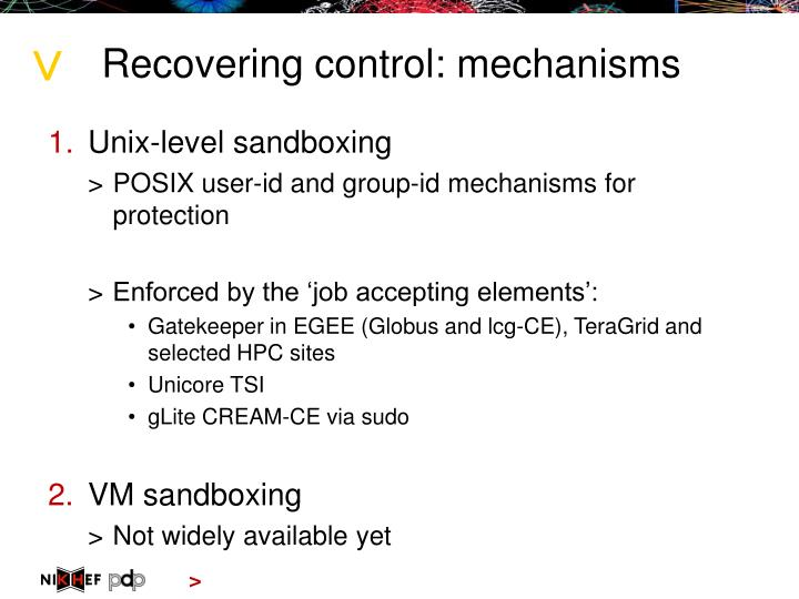 Recovering control: mechanisms