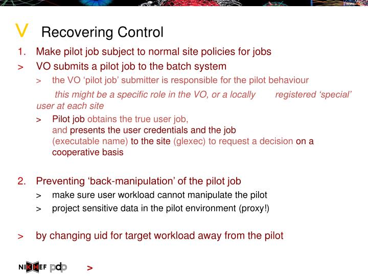 Recovering Control