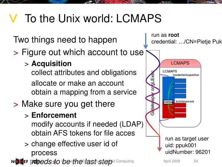 To the Unix world: LCMAPS