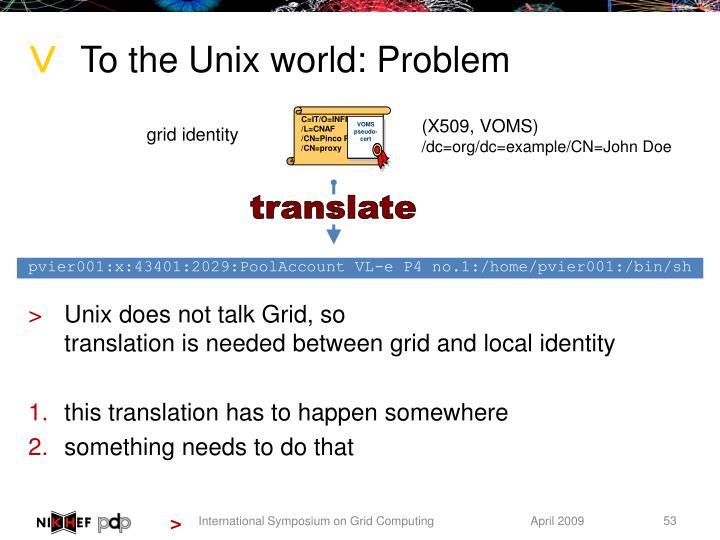 Unix does not talk Grid, so