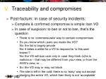 traceability and compromises