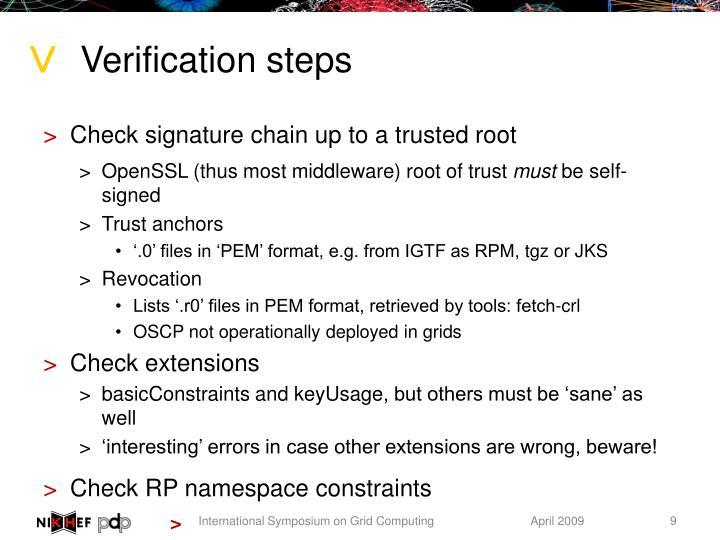 Verification steps
