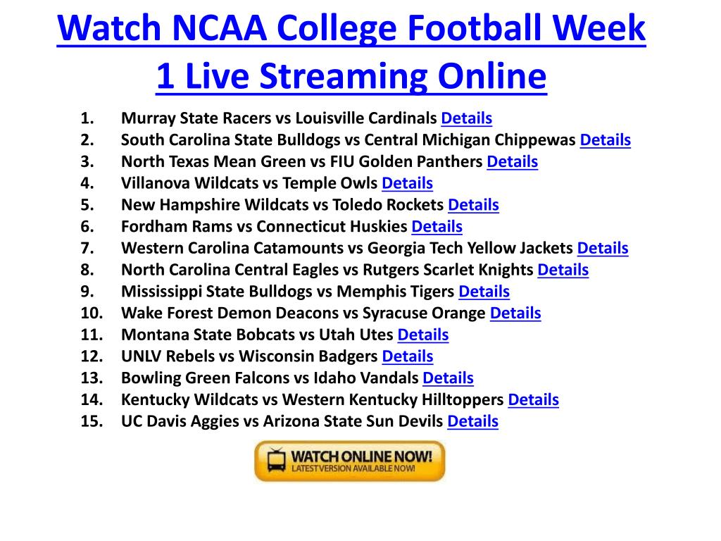 Watch NCAA College Football Week 1 Live Streaming Online