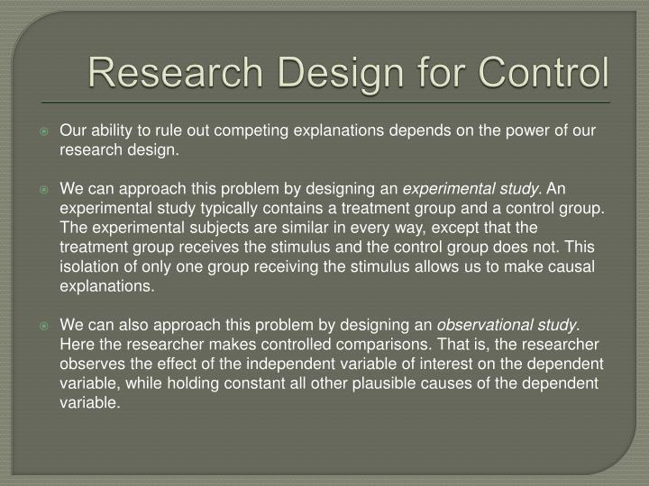 Research Design for Control