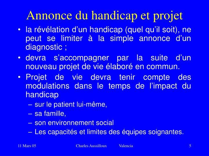 Annonce du handicap et projet
