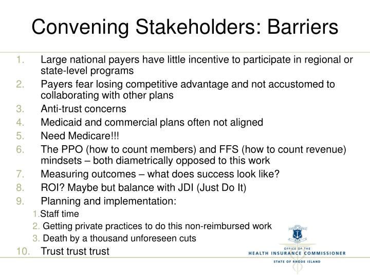 Convening Stakeholders: Barriers