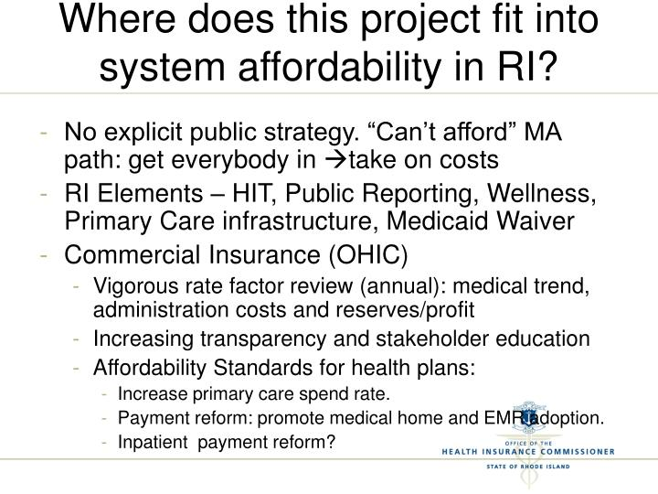 Where does this project fit into system affordability in RI?