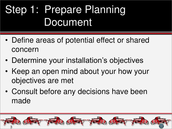 Step 1:  Prepare Planning Document
