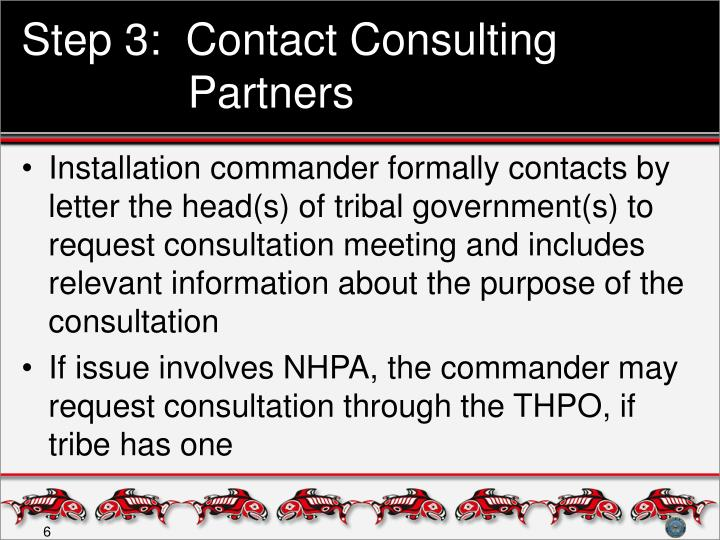 Step 3:  Contact Consulting Partners