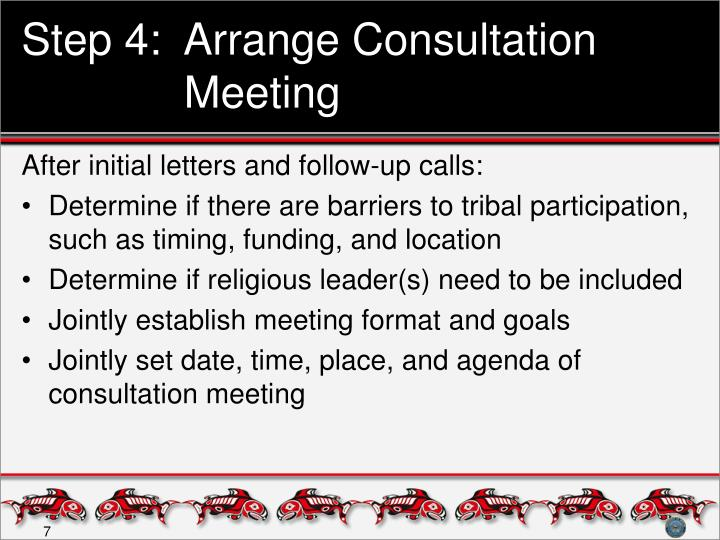 Step 4:  Arrange Consultation Meeting