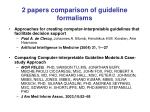 2 papers comparison of guideline formalisms