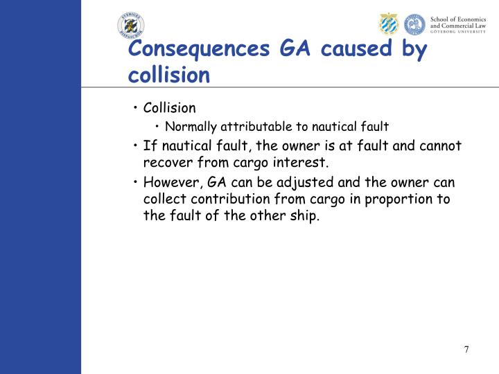 Consequences GA caused by collision