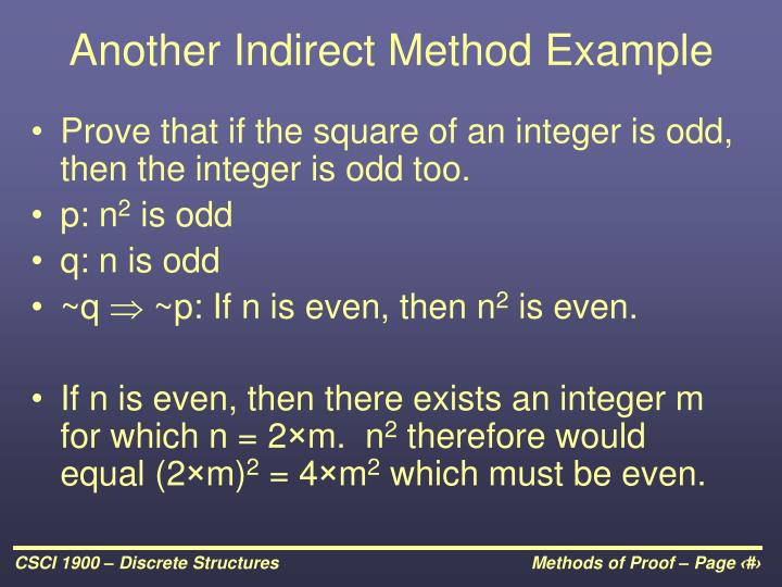 Another Indirect Method Example