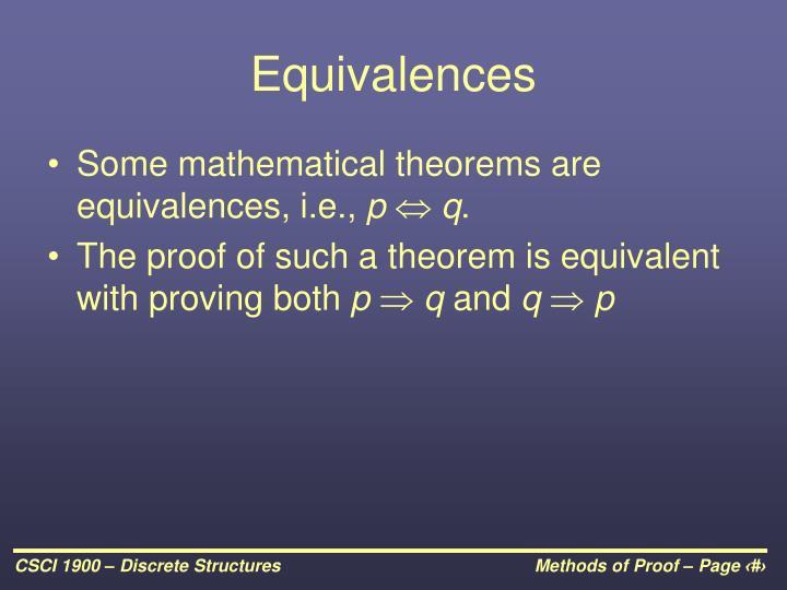 Equivalences