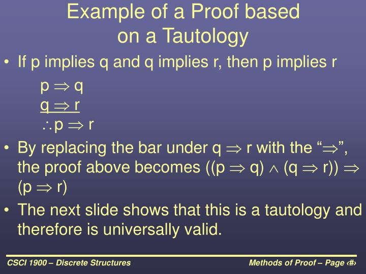 Example of a Proof based