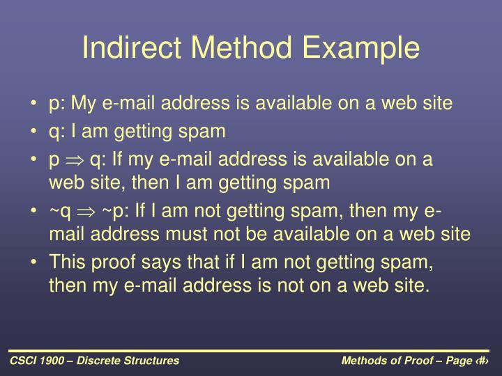 Indirect Method Example