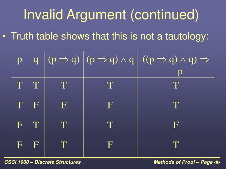 Invalid Argument (continued)