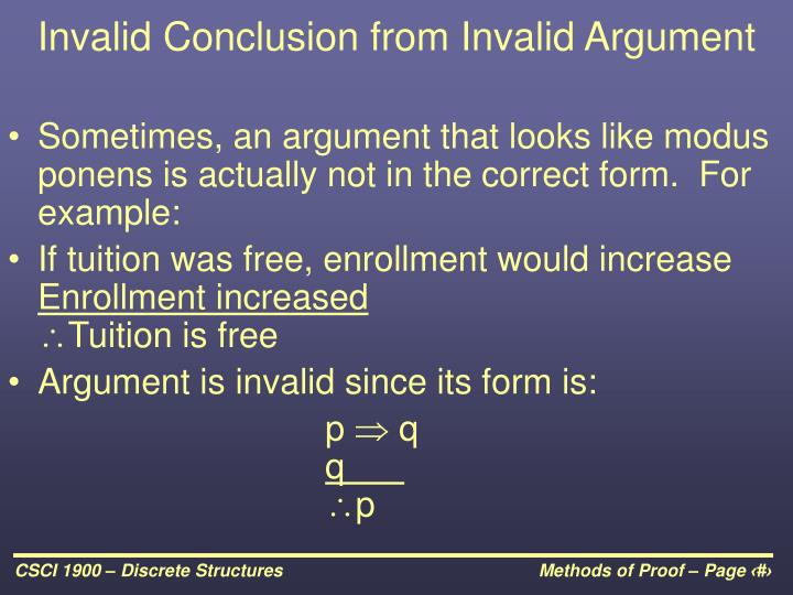 Invalid Conclusion from Invalid Argument