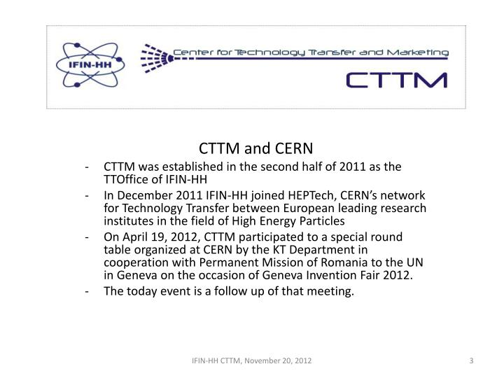 CTTM and CERN