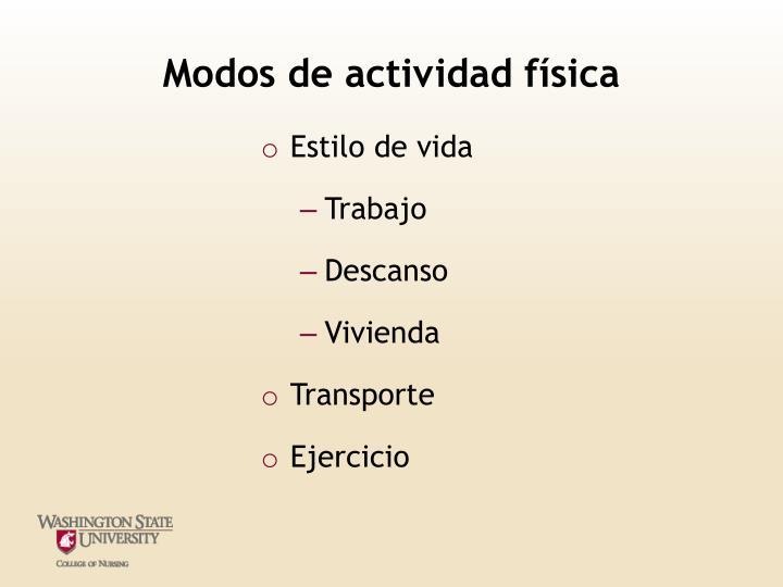 Modos de actividad física
