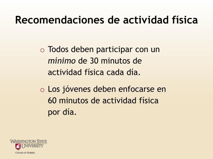 Recomendaciones de actividad física