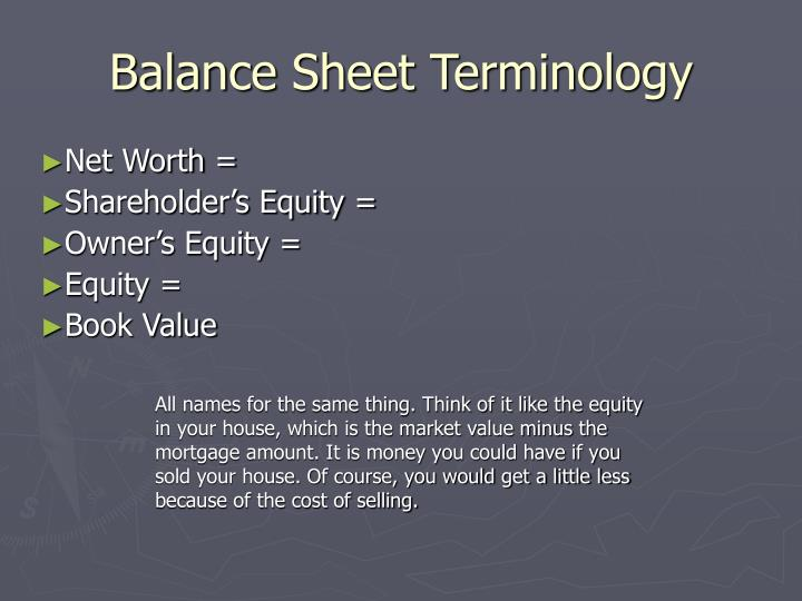 Balance Sheet Terminology