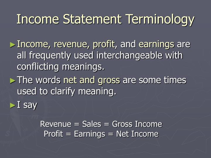 Income Statement Terminology