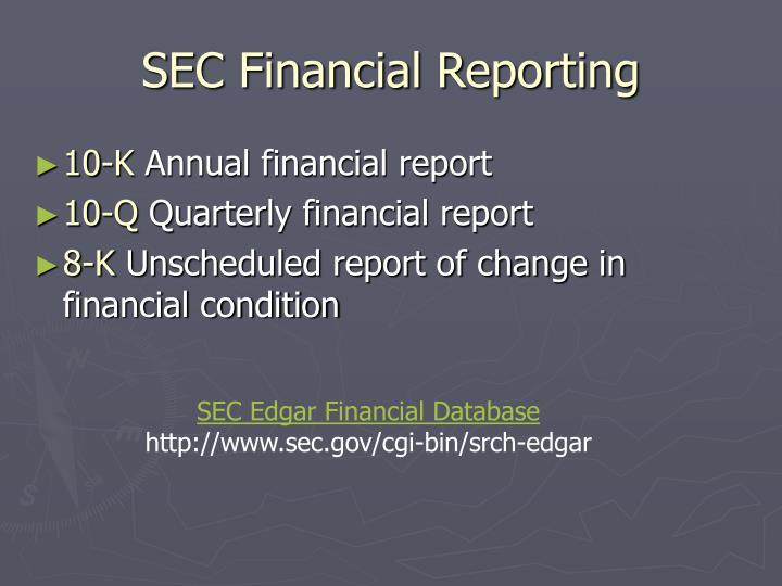 SEC Financial Reporting