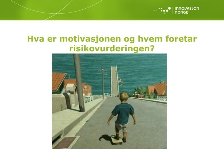 Hva er motivasjonen og hvem foretar risikovurderingen?