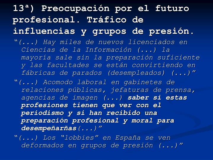 13ª) Preocupación por el futuro profesional. Tráfico de influencias y grupos de presión.