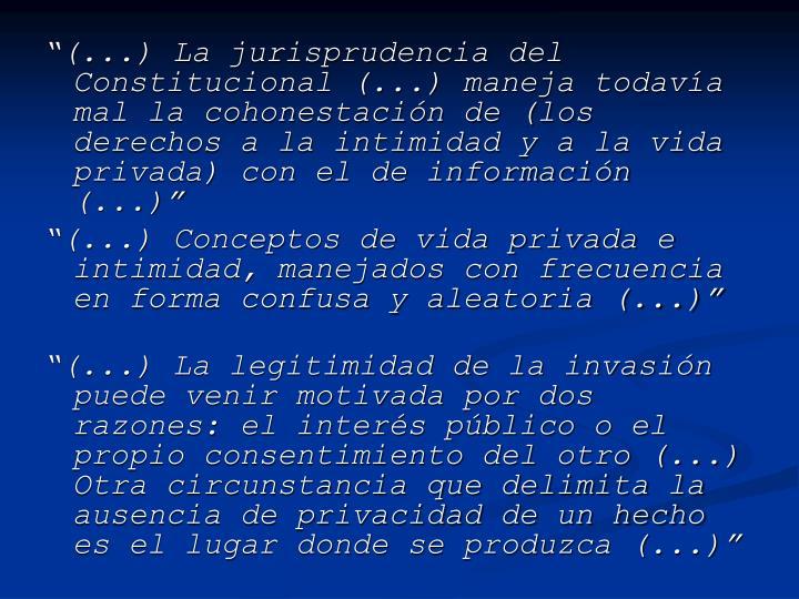 """""""(...) La jurisprudencia del Constitucional (...) maneja todavía mal la cohonestación de (los derechos a la intimidad y a la vida privada) con el de información (...)"""""""