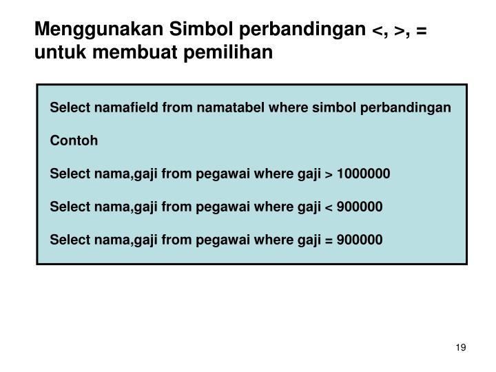 Menggunakan Simbol perbandingan <, >, = untuk membuat pemilihan