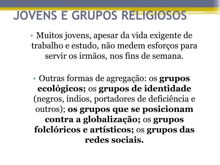 JOVENS E GRUPOS RELIGIOSOS