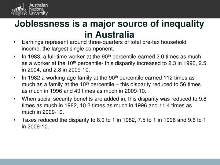 Joblessness is a major source of inequality in Australia