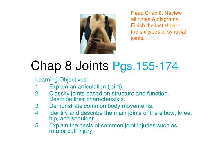 Read Chap 8. Review all notes & diagrams. Finish the last slide – the six types of synovial joints.