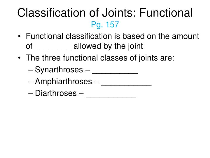 Classification of Joints: Functional
