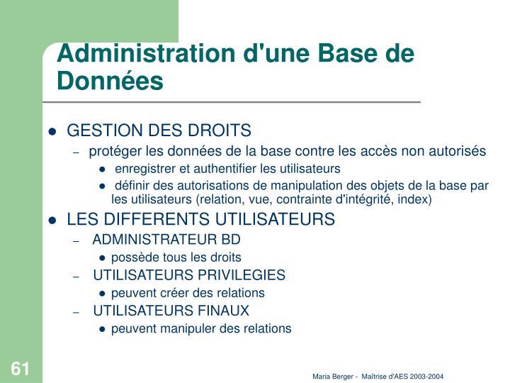 Administration d'une Base de Données