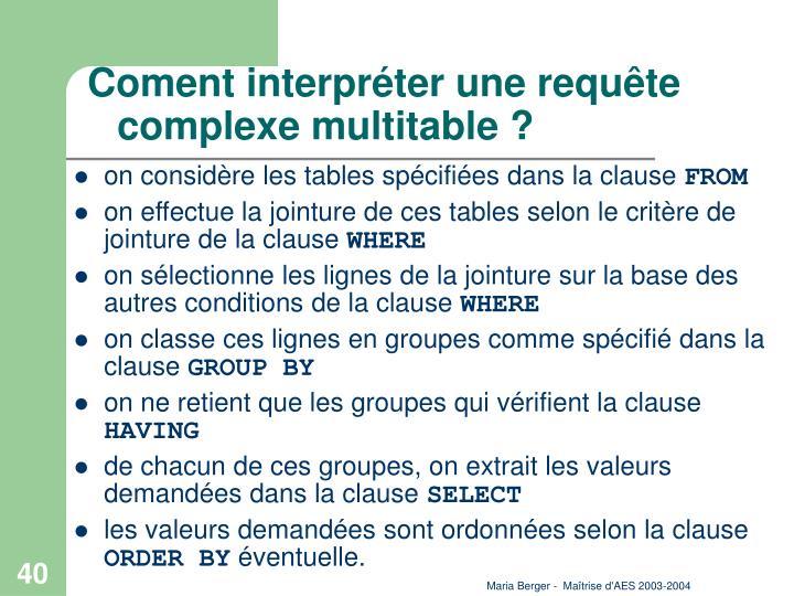Coment interpréter une requête complexe multitable ?