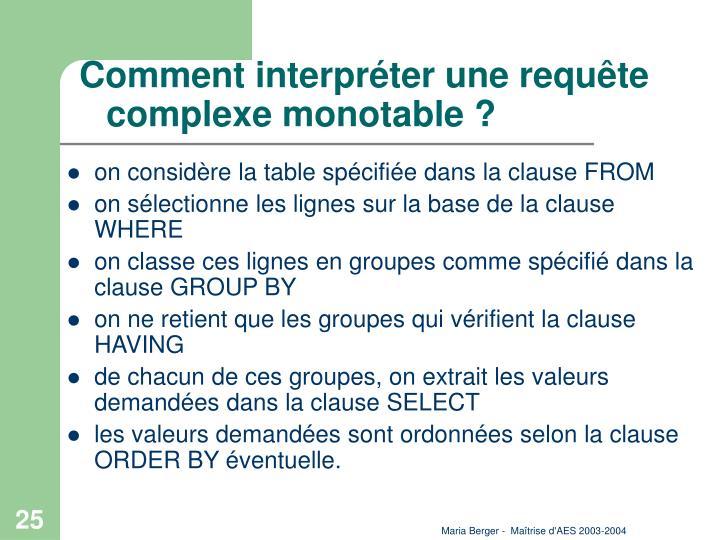 Comment interpréter une requête complexe monotable ?